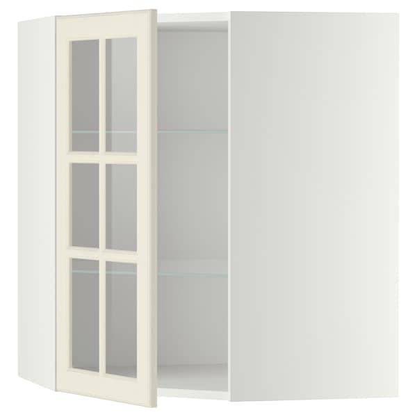 METOD Corner wall cab w shelves/glass dr, white/Bodbyn off-white, 68x80 cm