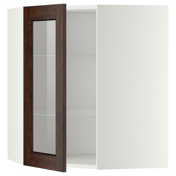 METOD Corner wall cab w shelves/glass dr, white/Edserum brown, 68x80 cm