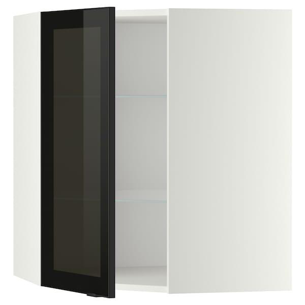 METOD Corner wall cab w shelves/glass dr, white/Jutis smoked glass, 68x80 cm