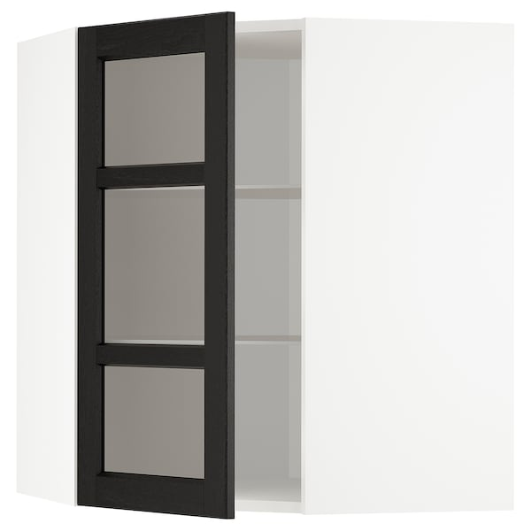 METOD Corner wall cab w shelves/glass dr, white/Lerhyttan black stained, 68x80 cm