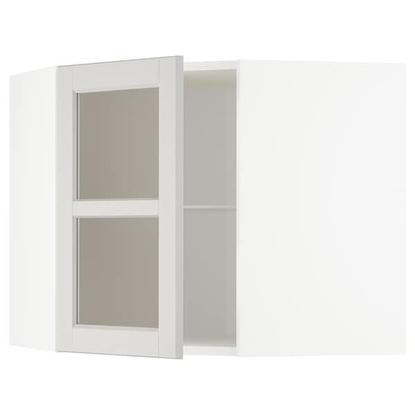 METOD Corner wall cab w shelves/glass dr, white/Lerhyttan light grey, 68x60 cm