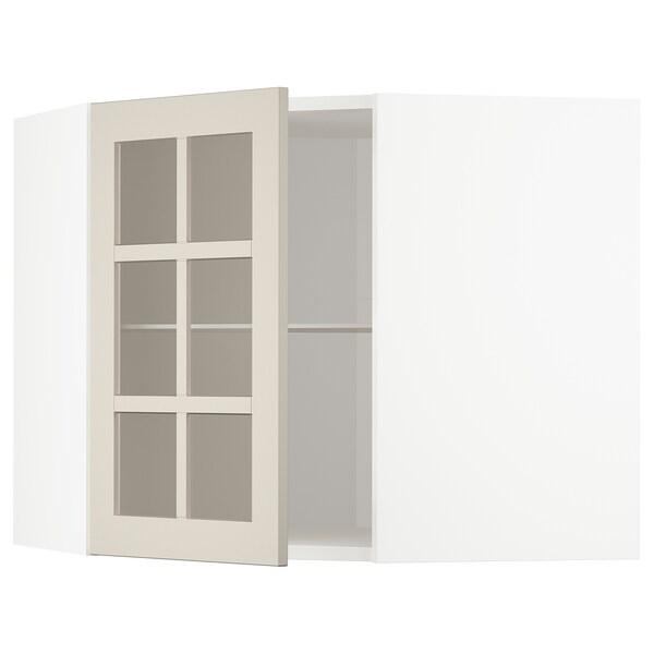 METOD Corner wall cab w shelves/glass dr, white/Stensund beige, 68x60 cm