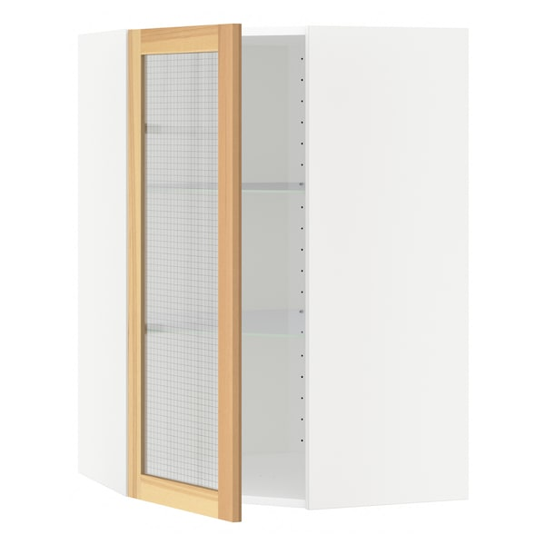 METOD Corner wall cab w shelves/glass dr, white/Torhamn ash, 68x100 cm