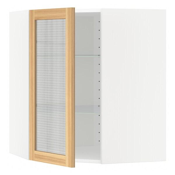 METOD Corner wall cab w shelves/glass dr, white/Torhamn ash, 68x80 cm