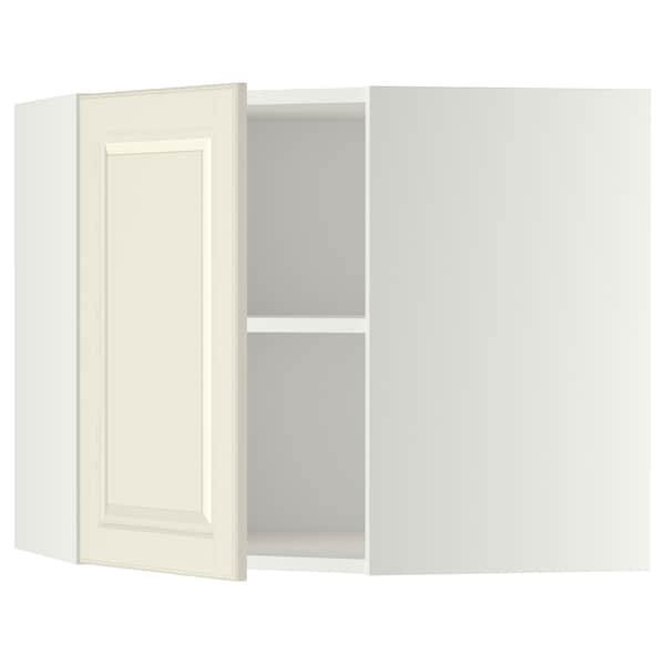 METOD Corner wall cabinet with shelves, white/Bodbyn off-white, 68x60 cm