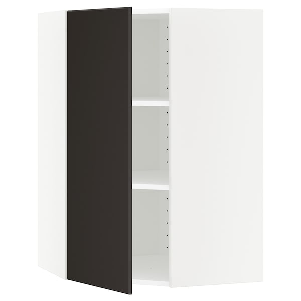 METOD Corner wall cabinet with shelves, white/Kungsbacka anthracite, 68x100 cm