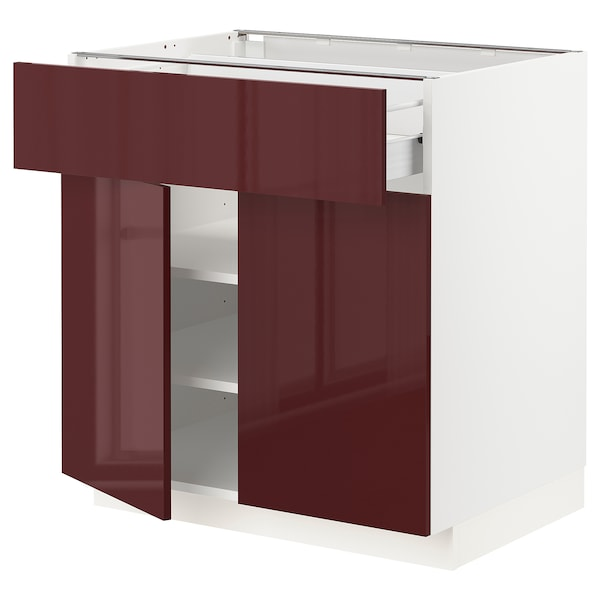 METOD / FÖRVARA base cabinet with drawer/2 doors white Kallarp/high-gloss dark red-brown 80.0 cm 61.6 cm 88.0 cm 60.0 cm 80.0 cm