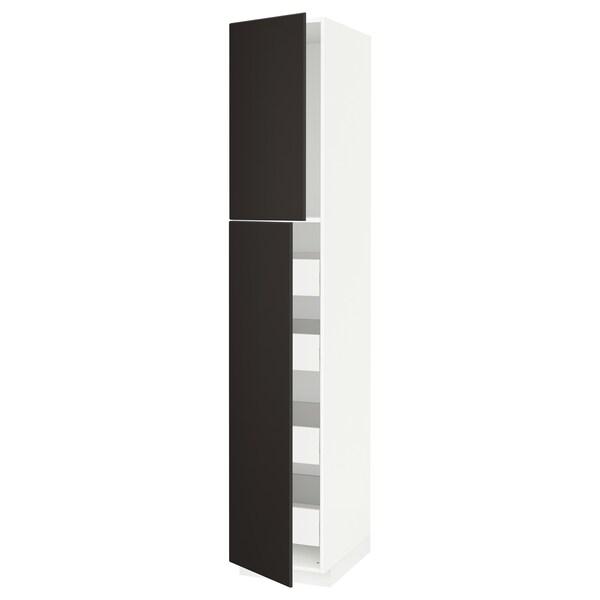 METOD / FÖRVARA Hi cab w 2 doors/4 drawers, white/Kungsbacka anthracite, 40x60x220 cm