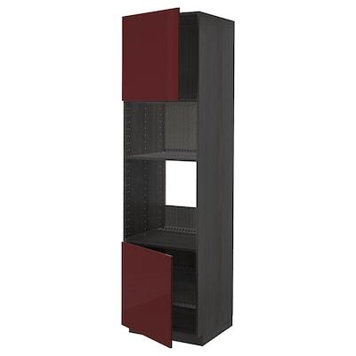 METOD خ. عالية لفرن/ميكرويف 2 أبواب/أرفف, أسود Kallarp/لامع أحمر-بني غامق, 60x60x220 سم