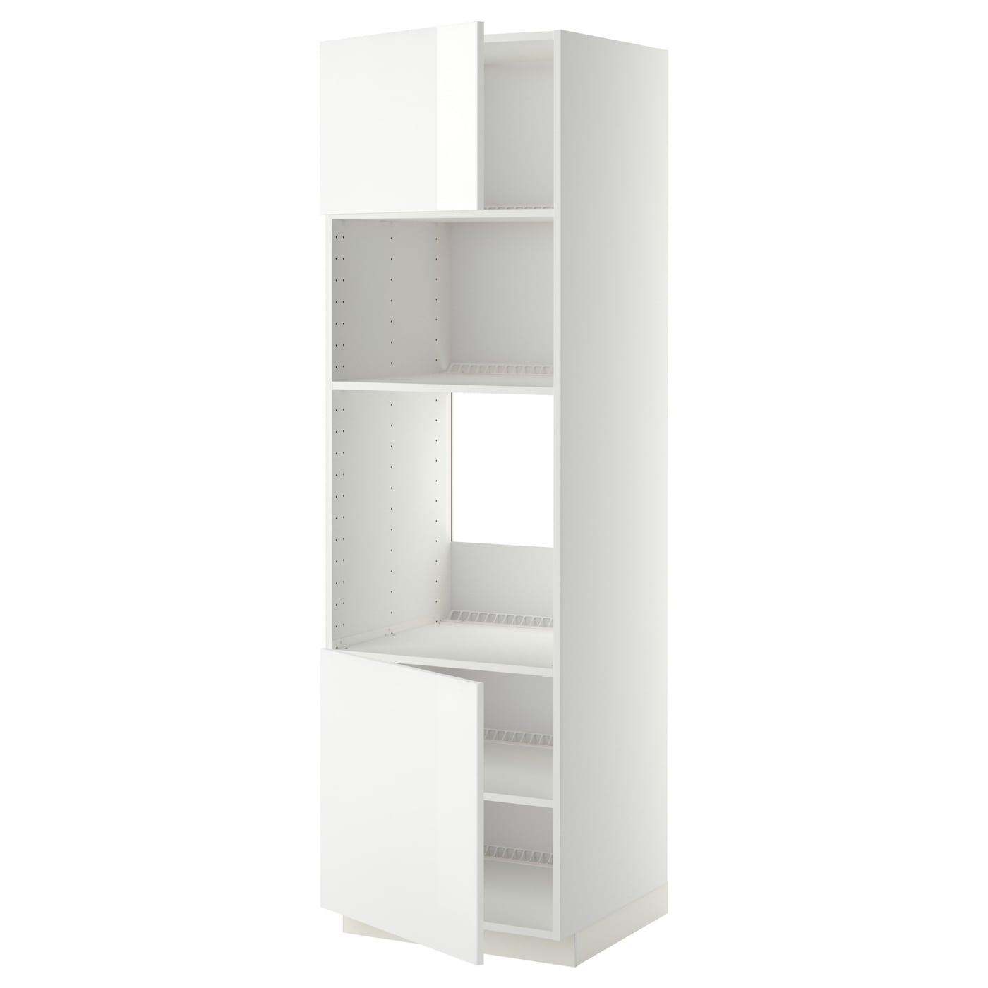 Meuble Micro Onde Ikea metod hi cb f oven/micro w 2 drs/shelves - white, ringhult white 60x60x200  cm