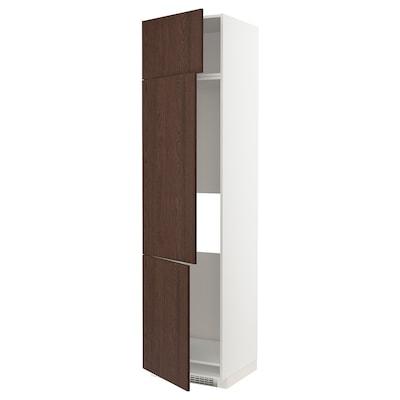 METOD High cab f fridge/freezer w 3 doors, white/Sinarp brown, 60x60x240 cm