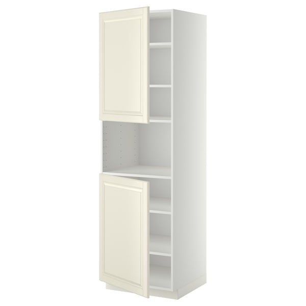 METOD high cab f micro w 2 doors/shelves white/Bodbyn off-white 60.0 cm 61.9 cm 208.0 cm 60.0 cm 200.0 cm