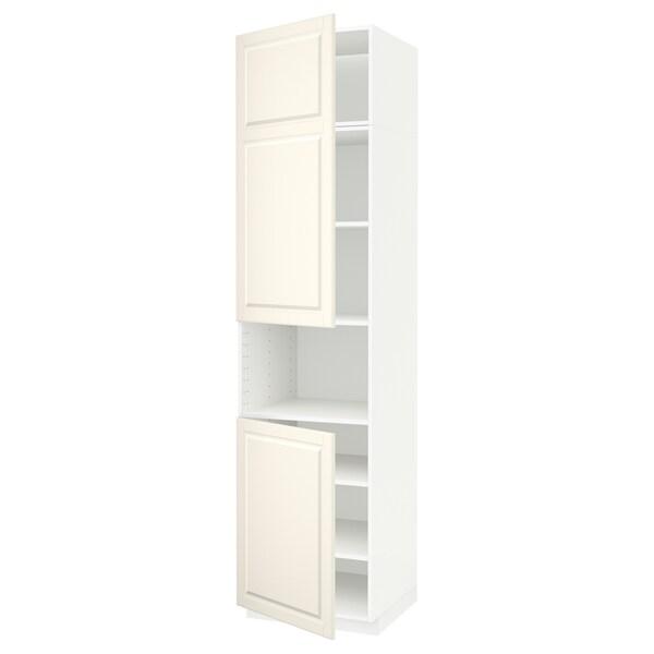 METOD high cab f micro w 2 doors/shelves white/Bodbyn off-white 60.0 cm 61.9 cm 248.0 cm 60.0 cm 240.0 cm