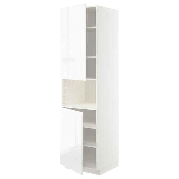 METOD high cab f micro w 2 doors/shelves white/Voxtorp high-gloss/white 60.0 cm 62.1 cm 228.0 cm 60.0 cm 220.0 cm