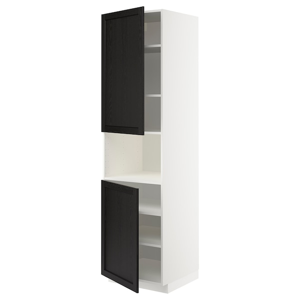 METOD high cab f micro w 2 doors/shelves white/Lerhyttan black stained 60.0 cm 61.9 cm 228.0 cm 60.0 cm 220.0 cm