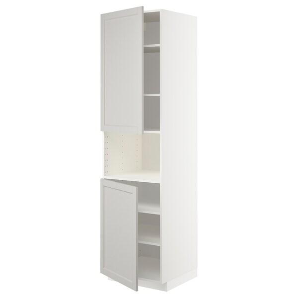 METOD high cab f micro w 2 doors/shelves white/Lerhyttan light grey 60.0 cm 61.9 cm 228.0 cm 60.0 cm 220.0 cm