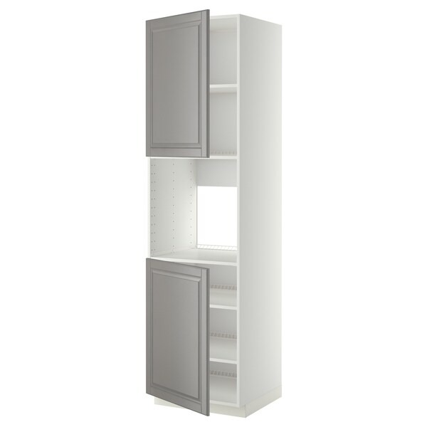 METOD high cab f oven w 2 doors/shelves white/Bodbyn grey 60.0 cm 61.9 cm 228.0 cm 60.0 cm 220.0 cm
