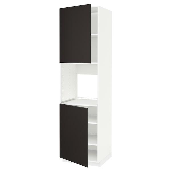 METOD high cab f oven w 2 doors/shelves white/Kungsbacka anthracite 60.0 cm 61.6 cm 228.0 cm 60.0 cm 220.0 cm