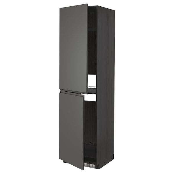 METOD High cabinet for fridge/freezer, black/Voxtorp dark grey, 60x60x220 cm