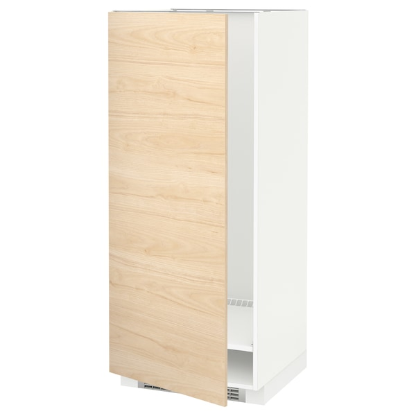 METOD High cabinet for fridge/freezer, white/Askersund light ash effect, 60x60x140 cm