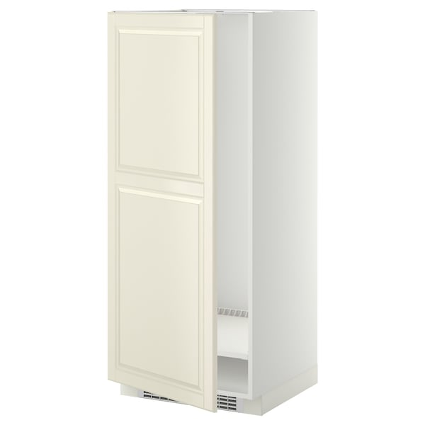 METOD High cabinet for fridge/freezer, white/Bodbyn off-white, 60x60x140 cm