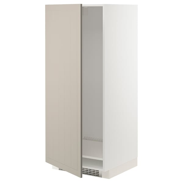 METOD High cabinet for fridge/freezer, white/Stensund beige, 60x60x140 cm