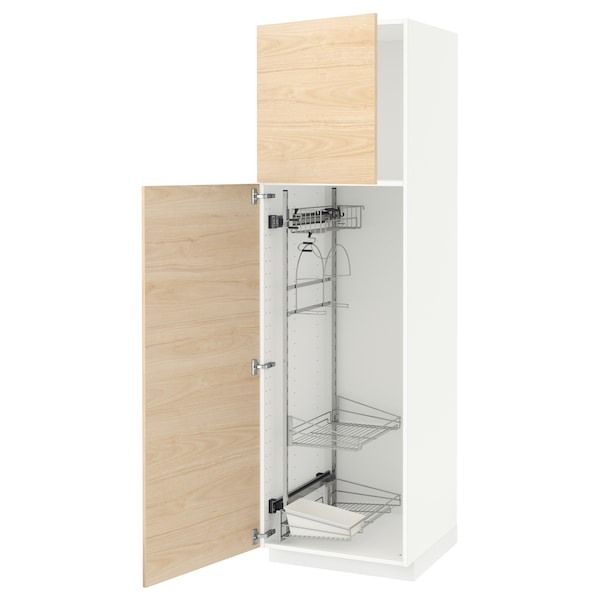 METOD High cabinet with cleaning interior, white/Askersund light ash effect, 60x60x200 cm