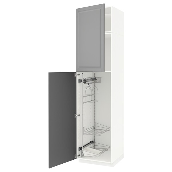 METOD High cabinet with cleaning interior, white/Bodbyn grey, 60x60x240 cm