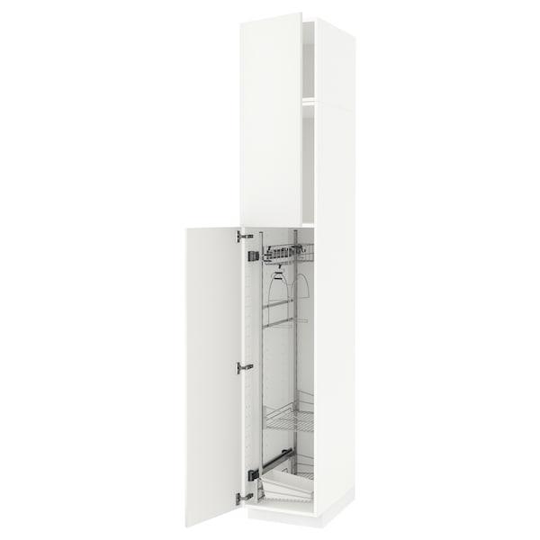 METOD خزانة مرتفعة مع أرفف مواد نظافة, أبيض/Häggeby أبيض, 40x60x240 سم