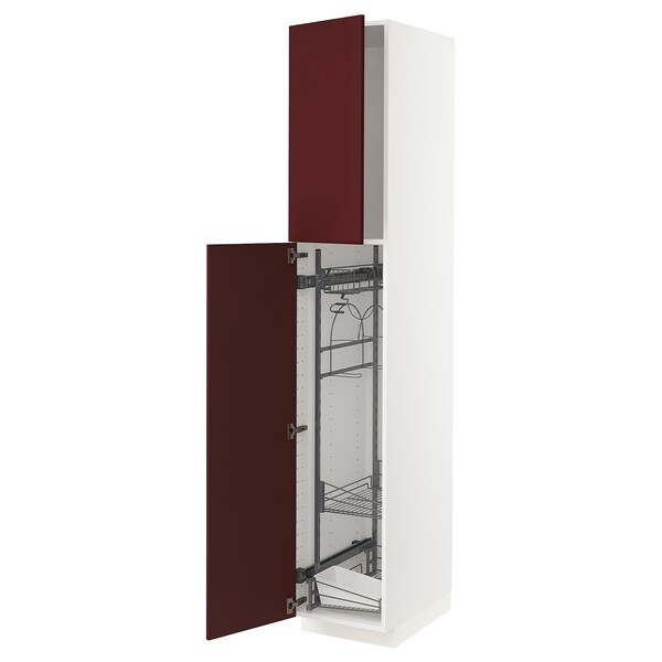 METOD High cabinet with cleaning interior, white Kallarp/high-gloss dark red-brown, 40x60x220 cm