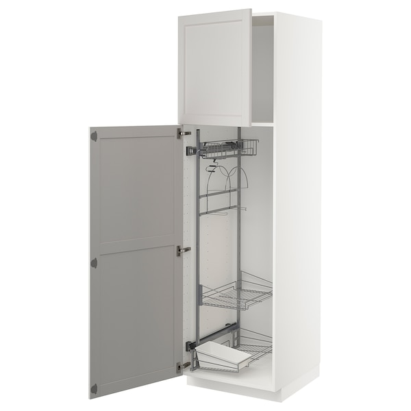 METOD High cabinet with cleaning interior, white/Lerhyttan light grey, 60x60x200 cm
