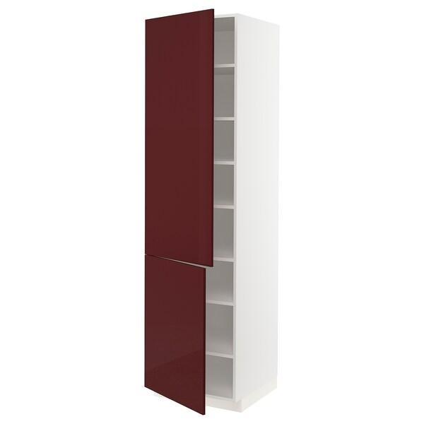 METOD High cabinet with shelves/2 doors, white Kallarp/high-gloss dark red-brown, 60x60x220 cm