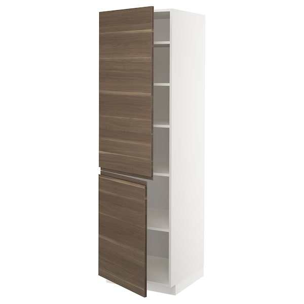 METOD خزانة مرتفعة مع أرفف/بابين, أبيض/Voxtorp شكل خشب الجوز, 60x60x200 سم