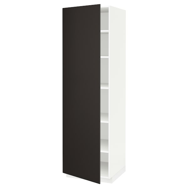 METOD High cabinet with shelves, white/Kungsbacka anthracite, 60x60x200 cm