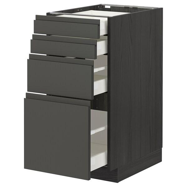 METOD / MAXIMERA Base cab 4 frnts/4 drawers, black/Voxtorp dark grey, 40x60 cm