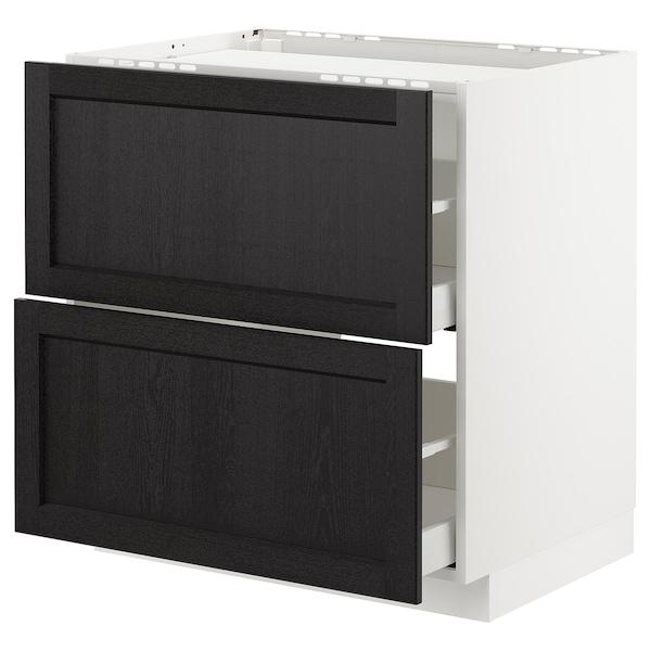 METOD / MAXIMERA base cab f hob/2 fronts/2 drawers white/Lerhyttan black stained 80.0 cm 61.8 cm 88.0 cm 60.0 cm 80.0 cm