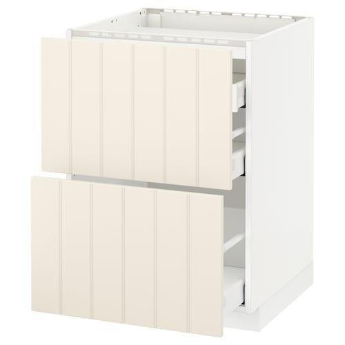 METOD / MAXIMERA base cab f hob/2 fronts/3 drawers white/Hittarp off-white 60.0 cm 61.6 cm 88.0 cm 60.0 cm 80.0 cm
