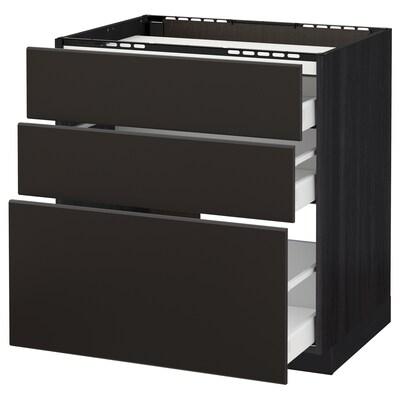 METOD / MAXIMERA خ. قاعدة لموقد/3 واجهات/3 أدراج, أسود/Kungsbacka فحمي, 80x60 سم