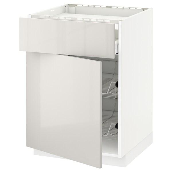 METOD / MAXIMERA base cab f hob/drawer/2 wire bskts white/Ringhult light grey 60.0 cm 61.8 cm 88.0 cm 60.0 cm 80.0 cm
