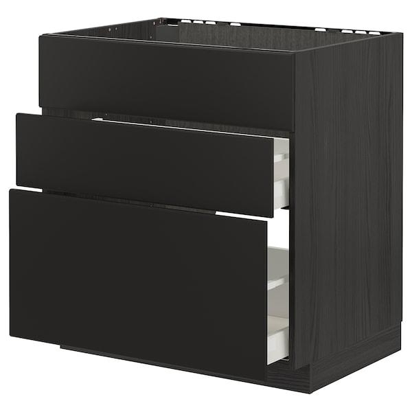 METOD / MAXIMERA خزانة قاعدة لموقد/شفاط مدمج مع درج, أسود/Kungsbacka فحمي, 80x60 سم