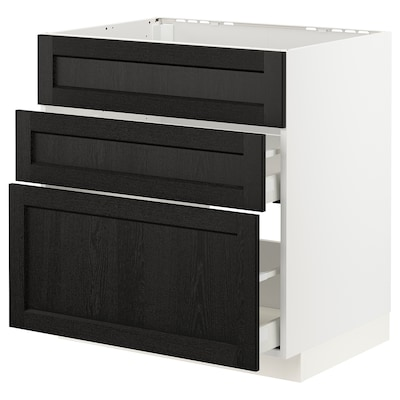 METOD / MAXIMERA خزانة قاعدة لموقد/شفاط مدمج مع درج, أبيض/Lerhyttan صباغ أسود, 80x60 سم