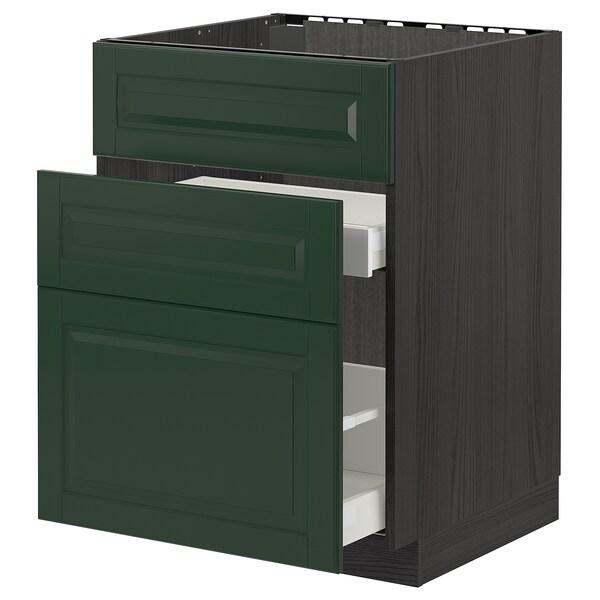 METOD / MAXIMERA Base cab f sink+3 fronts/2 drawers, black/Bodbyn dark green, 60x60 cm