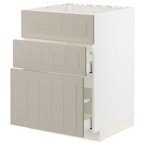 METOD / MAXIMERA Base cab f sink+3 fronts/2 drawers, white/Stensund beige, 60x60 cm