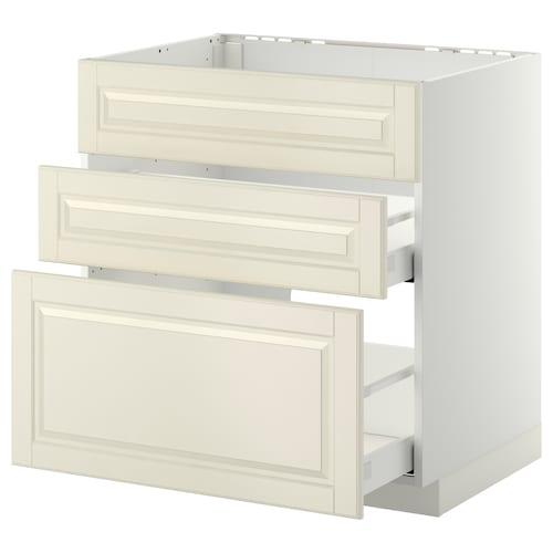 METOD / MAXIMERA base cab f sink+3 fronts/2 drawers white/Bodbyn off-white 80.0 cm 61.9 cm 88.0 cm 60.0 cm 80.0 cm
