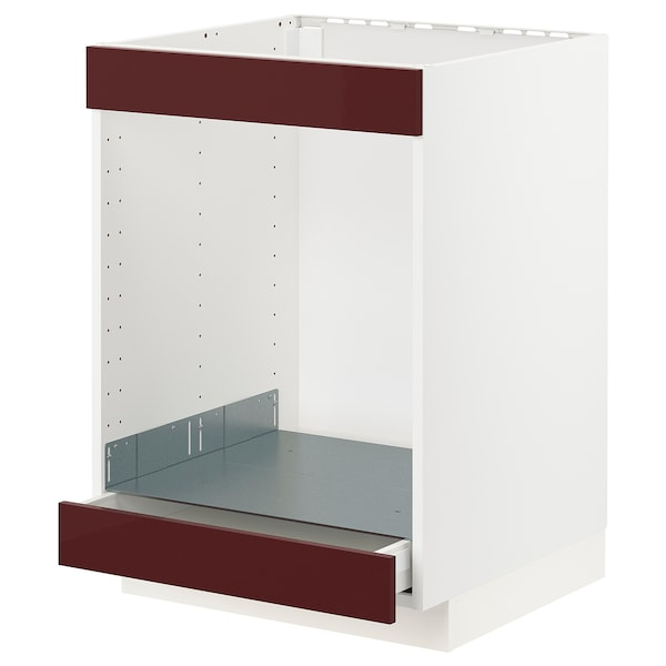 METOD / MAXIMERA Base cab for hob+oven w drawer, white Kallarp/high-gloss dark red-brown, 60x60 cm
