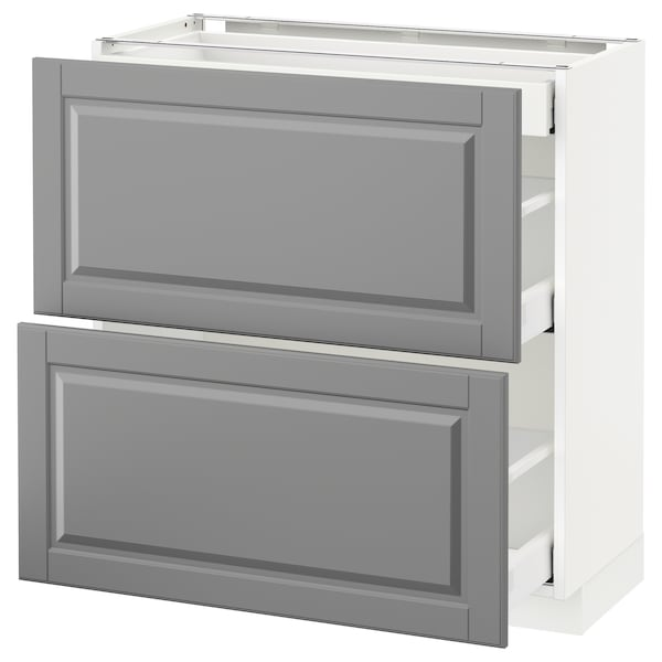 METOD / MAXIMERA Base cab with 2 fronts/3 drawers, white/Bodbyn grey, 80x37 cm