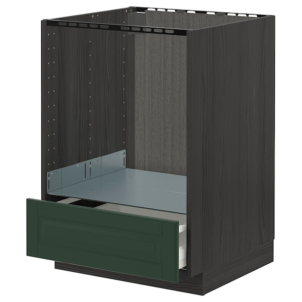 METOD / MAXIMERA Base cabinet for oven with drawer, black/Bodbyn dark green, 60x60 cm