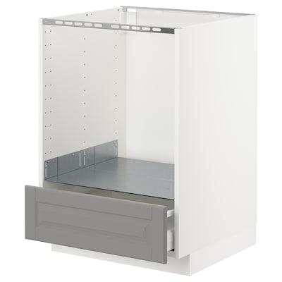 METOD / MAXIMERA خ. قاعدة لفرن مع درج, أبيض/Bodbyn رمادي, 60x60 سم
