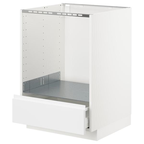 METOD / MAXIMERA خ. قاعدة لفرن مع درج, أبيض/Voxtorp أبيض مطفي, 60x60 سم