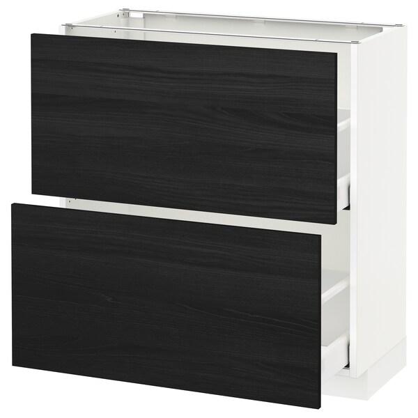 METOD / MAXIMERA Base cabinet with 2 drawers, white/Tingsryd black, 80x37 cm